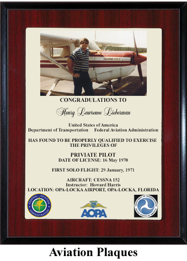 aviation pilot award plaque