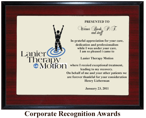 business award appreciation plaque