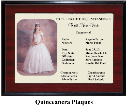 quinceanera gift plaque