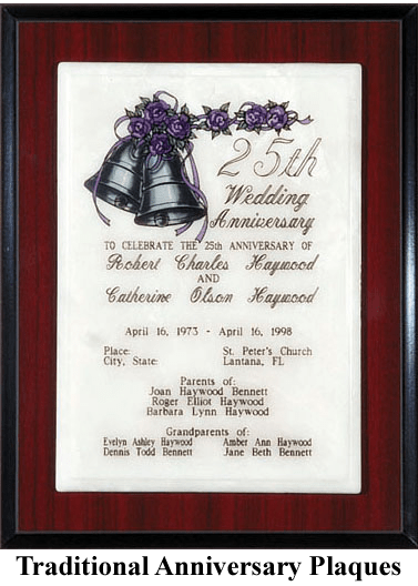 25th anniversary gift plaque