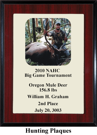 hunting tournament award plaque