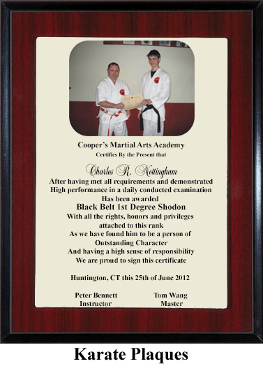 karate martial arts award plaque